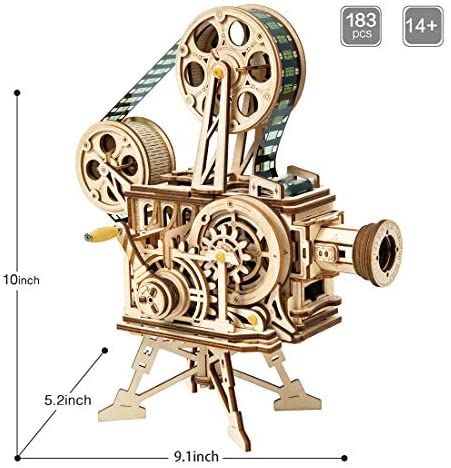 ROKR 3D Wooden Puzzle for Adults Engineering Mechanical Model Kits,Brain Teasers STEM Wood Toys,Valentine's Day/Christmas/Birthday Gift for Adults & Kids Age 14+(Hand-cranked Vitascope): Toys & Games