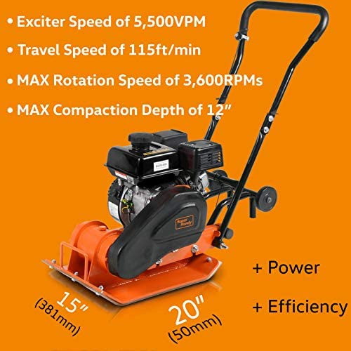 SuperHandy Plate Compactor AlphaWorks 7 HP 209cc Gas Engine 4200-Pounds of Compaction Force with 20 × 15 Inch Plate for Paving Projects Landscapes Sidewalks Patios EPA/CARB Compliant: Home & Kitchen