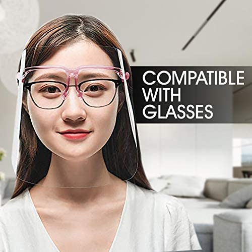 Safety Shields | All-Around Wide Protection | Reusable Glasses Frame Attached to Anti-Fog Transparent Visor | Lightweight, Comfortable and Effective | Prevents Any Droplets or Particles (2, Pink)