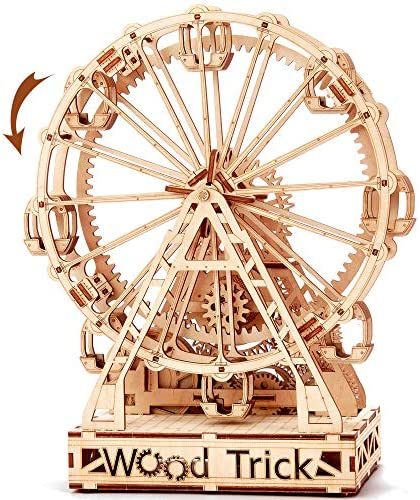 Wood Trick Ferris Wheel Toy Mechanical Model, Observation Wheel - 3D Wooden Puzzle, Eco Wooden Toys, Assembly Model, Brain Teaser for Adults and Kids: Toys & Games