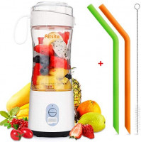 Aitsite Portable Blender, Personal Mixer Fruit Rechargeable USB with 2 Straws, Mini Blender for Smoothie, Fruit Juice, Milk Shakes 380ml, Six 3D Blades for Great Mixing (White): Kitchen & Dining