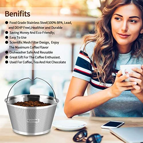 8-10 Cup Reusable Basket Permanent Coffee Filters, Perfect Fit 8-10 Cup BUNN Basket-Style Home Coffee Maker Filters and Replace BUNN Basket-Style Coffee Paper Filters (Bunn): Kitchen & Dining
