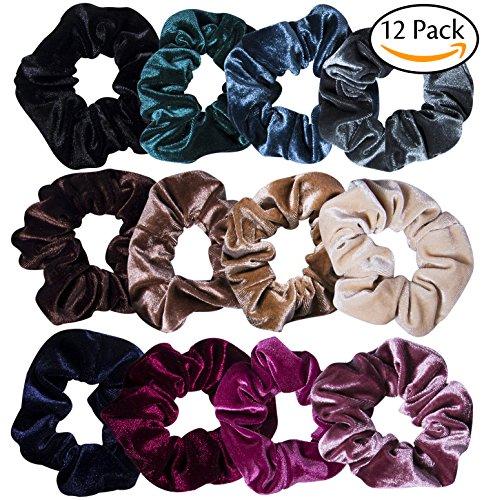 12 Pcs Hair Scrunchies Velvet Elastic Hair Bands Scrunchy Hair Ties Ropes Scrunchie for Women or Girls Hair Accessories - 12 Assorted Colors Scrunchies : Beauty