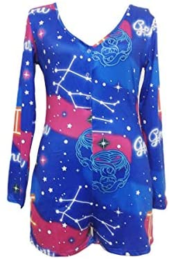 Women's Long-Sleeve V-Neck Bodycon Short Jumpsuit Onesie Slim Fit Sex Summer Playsuit Constellation Zodiac Pajama: Clothing