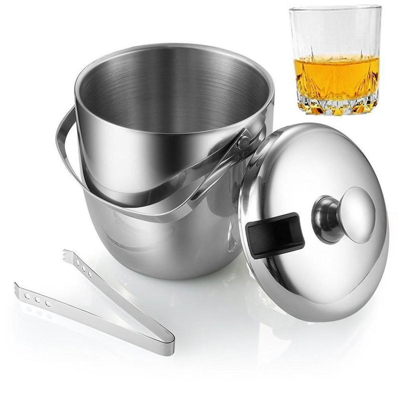 Stainless Steel Double-layer Ice Bucket Thickened Portable Ice Bucket With Lid Thermal Insulation Champagne Bucket With Portable Drum