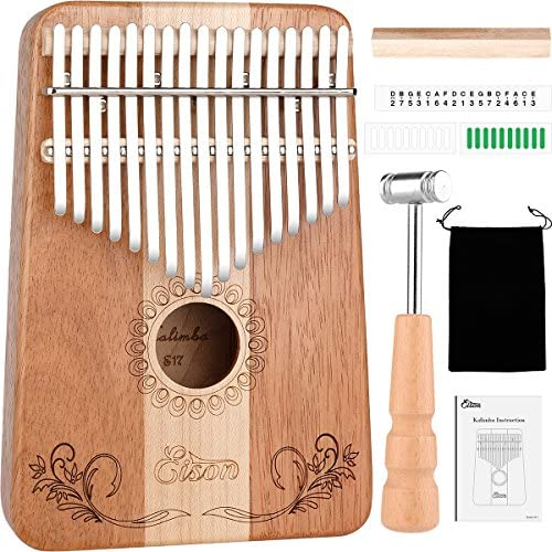 Kalimba,Eison Kalimba Thumb Piano 17 keys with Case Bag, African Finger Piano Kit, Cloth bag, Instruction, Tune Hammer, Key Stickers, Solid Wood Mahogany Body- Best Gift for Music Fans Adult Kids: Musical Instruments