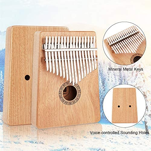 17 Key Kalimba Thumb Piano, Solid Mahogany Body Finger Piano Mbira Gift Easy To Learn with Tuning Hammer for Kids Adults Beginners Professional, by Vangoa: Musical Instruments