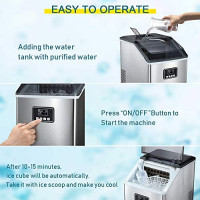 AGLUCKY Counter top Ice Maker Machine,40LBS/24H Compact Ice Machine,Portable Ice Cube Makers with Self-cleaning,Easy-to-Control LCD Display,See-Through Lid for Home/Kitchen/Bar (Silver): Appliances