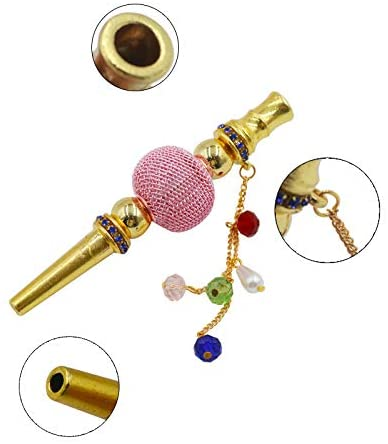 HW Hookah Tips Metal Rhinestone Nozzle Diamond Hookah Accessories Shisha Nargila Hose Mouth Tips Cigarette Holder 1 PC (Gold Silver): Health & Personal Care