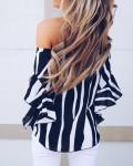 Women's Striped Off Shoulder Bell Sleeve Shirt Tie Knot Top