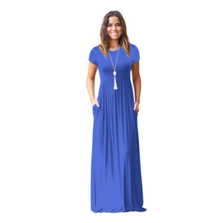 Women's Short Sleeve Long Dress with Pockets