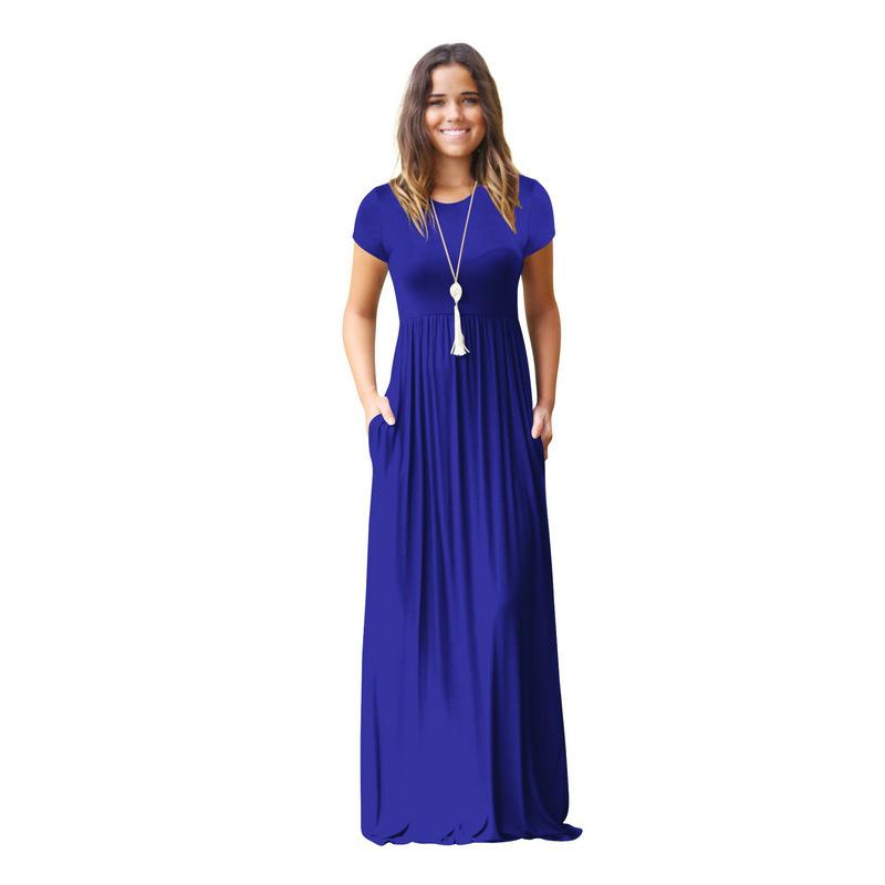 Women's Short-sleeved Long Dress