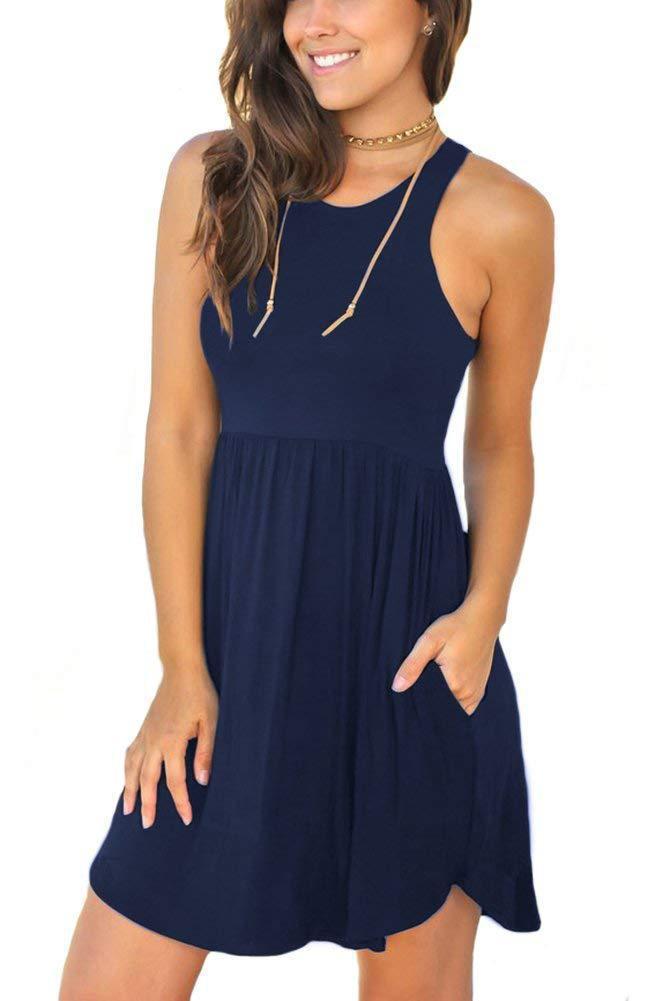 Women's Sleeveless Loose  Short Plain Dress