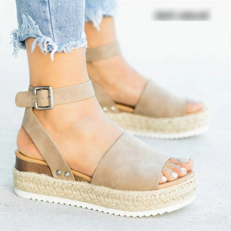 Ladies Summer Studded Wedge Sandals