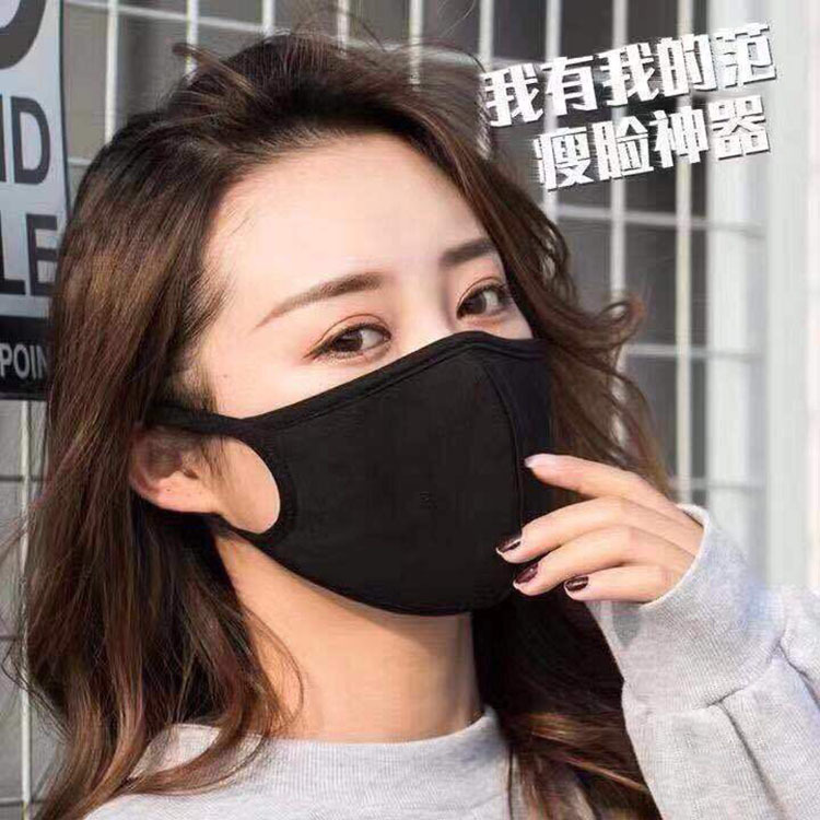 3D Stereo Dustproof And Haze Mask, Pure Cotton Black Protective Ear-hanging Mask