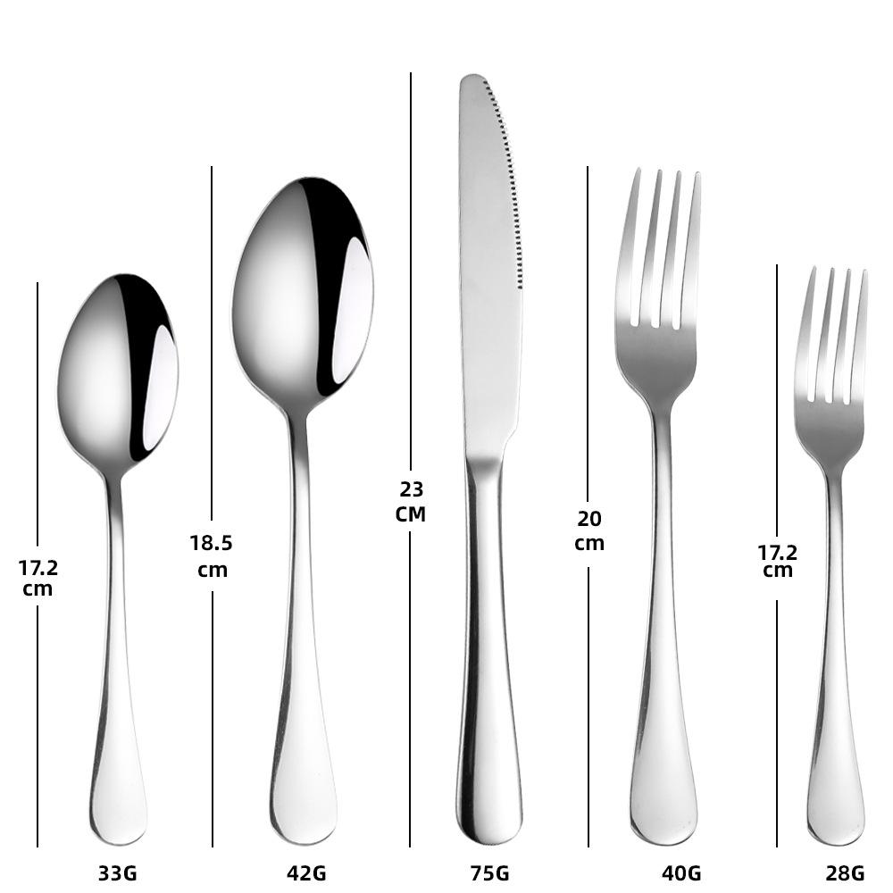 1010 Stainless Steel Tableware 20-piece Cutlery Table Knife Dinner Spoon Dinner Fork Tea Spoon