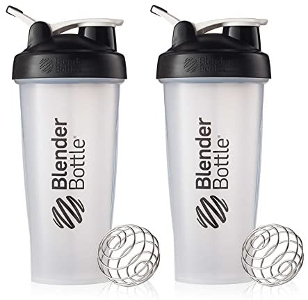 BlenderBottle Classic Loop Top Shaker Cup, 28-Ounce, Black/Clear, Pack of 2: Kitchen & Dining