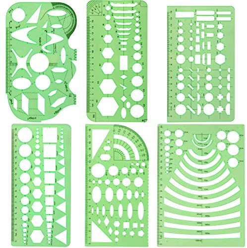 Petift 6 Pieces Geometric Drawings Templates, Plastic Measuring Templates, Measuring Templates Building Formwork Stencils Geometric Drawing Rulers for Office, School, Designing and Building, Clear Green