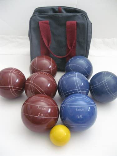 Epco Premium Quality Engraved Bocce Package - 110mm Red and Blue Balls with Engraving [Misc.] : Bocce Sets : Sports & Outdoors