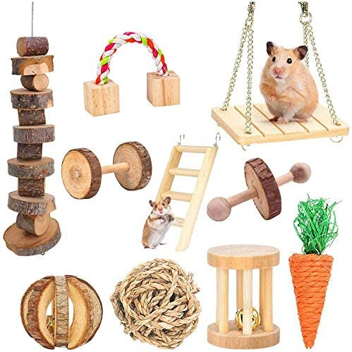Supmaker Hamster Chew Toys, Guinea Pig Toys Natural Wooden Gerbil Rats Chinchillas Toys Accessories Dumbells Exercise Bell Roller Teeth Care Molar Toy for Birds Bunny Rabbits Gerbils : Pet Supplies