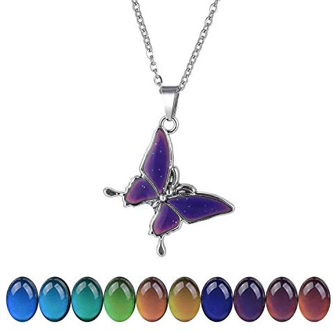 """FM FM42 Temperature Sensing Color Changing Butterfly Pendant Necklace with 19.29"""" Stainless Steel Rolo Chain (Butterfly-1) ZN1128: Jewelry"""