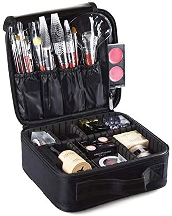 Mini Travel Makeup Train Case,Muznote Makeup Cosmetic Case Organizer Portable Artist Storage Bag with Adjustable Dividers for Cosmetics Makeup Brushes Toiletry Jewelry Digital Accessories Black