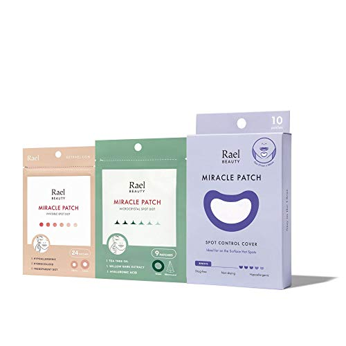 Rael Acne Pimple Healing Patch (24 Count), Microneedle Acne Spot Patch (9 Count), Spot Control Cover Large Patches (10 Count) Bundle: Beauty