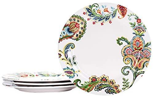 Bico Protea Cynaroides Ceramic 11 inch Dinner Plates, Set of 4, for Pasta, Salad, Maincourse, Microwave & Dishwasher Safe: Salad Plates
