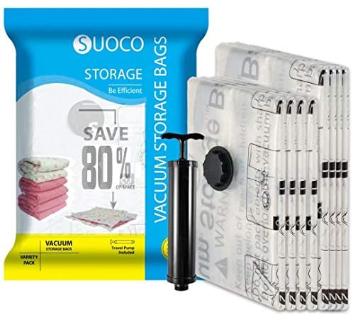 SUOCO Vacuum Storage Bags 8 Pack (4 x Large, 4 x Jumbo) Space Saver Compression Bags with Hand Pump: Home Improvement