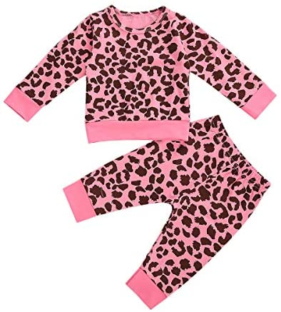 Newborn Baby Boy Girl Leopard Outfit Long Sleeve T-Shirt Top Drawstring Pants 2pcs Fall Winter Clothes Set: Clothing