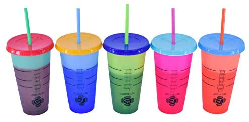 SOLANOTRADERS Color Changing Tumbler 24OZ | Color Changing Cups 5-Pack Reusable with Free Lid and Straws, for Iced Water, any Starbucks Drink, Iced Coffee: Tumblers & Water Glasses