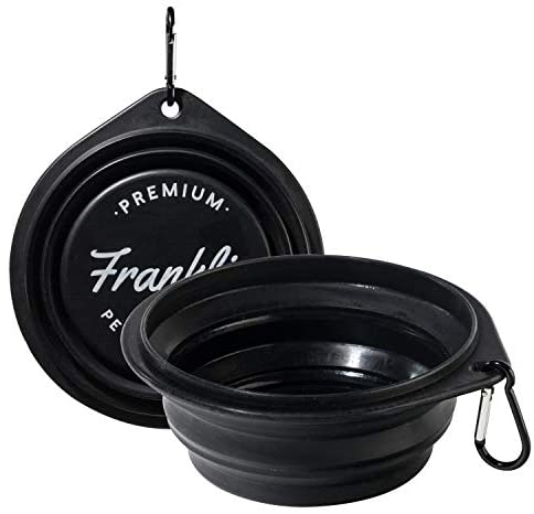 Pet Supplies : Franklin Pet Supply Collapsible Pet Travel Bowl - BPA Free - FDA Approved - Dogs - Cats - Dog Bowl - Food - Water Bowl - Small - Medium - Large Dog Food Bowl - Puppy - Includes Clip - Black