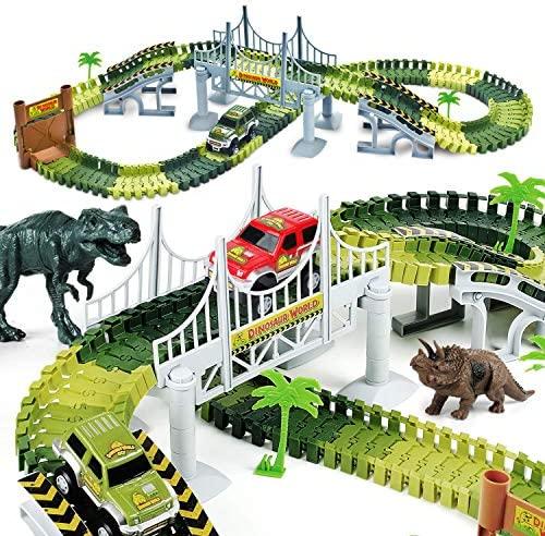 AUUGUU Kids Dinosaur Race Car Track – 156 Piece Dinosaur Road Race Set with Flexible Track, Dino Toys, Bridge, Ramps and 2 Race Car Toys – Prehistoric Race Track for Kids Age 3-5: Toys & Games