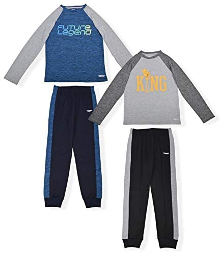 Hind Boys 4-Piece Active Long Sleeve Quick Dry T-Shirt and Athletic Jogger Sweatpant Set Kids Clothes for Sports and Running: Clothing
