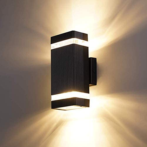 LPINYE LED Square Up and Down Wall Light, 16W 3000K Warm White, 1440lm , Outdoor Waterproof LED Wall Lamp Suitable for Garages, Gardens, Corridors, Courtyards, Balconies, Walkways: Home Improvement