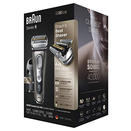 Braun Electric Razor for Men, Series 9 9385cc, Electric Shaver, Precision Trimmer, Rechargeable, Cordless, Wet & Dry Foil Shaver, Clean & Charge Station and Leather Travel Case: Beauty