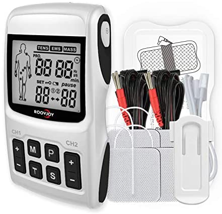 ROOVJOY Tens Unit EMS Muscle Stimulator Massager for Pain Relief Electrodes Therapy Tens Machine: Health & Personal Care