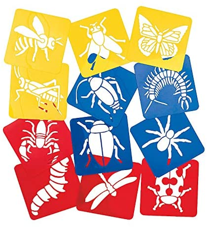 Fun Express Big Bug Stencils - 12 Pieces - Educational and Learning Activities for Kids : Paper Craft Supplies : Office Products