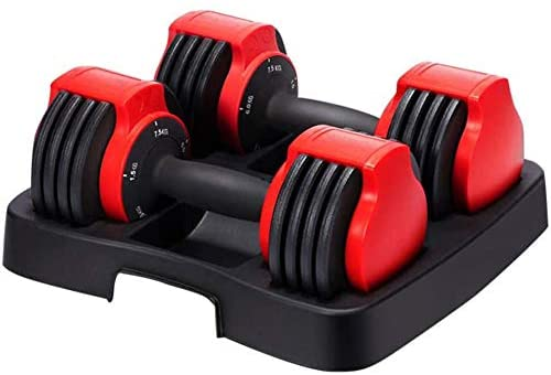 Hhusali 16.5 lbs Fast Adjustable Dumbbells with Weight Plate for Body Workout Home Gym : Sports & Outdoors