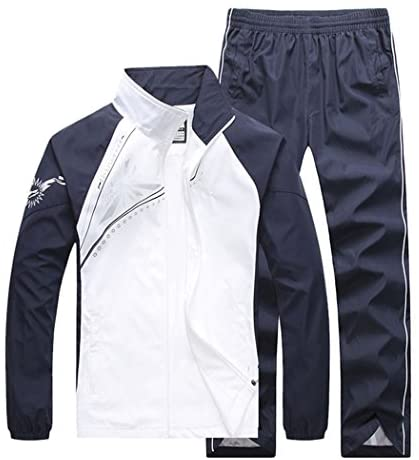 November's Chopin Men's Fitted Exercise Tracksuit Set 2 Pieces Full-Zip Casual Jogging Athletic Workout Sweat Suits: Clothing