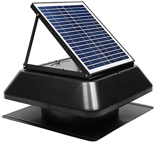 GBGS Solar Attic Fan Surface Mount 1750 CFM, IP68 Brushless DC Motor, Adjustable Panel, 14 inches 7 Fan Blades, 40db, Double Rust Free Anti-Aging, Easy Install, Size 23.6X23.6X9.8 in, 29 lb/Unit
