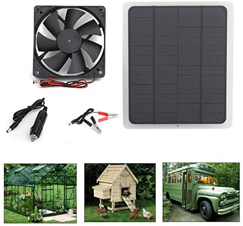 Topteng Solar Powered Fan, Solar Panel Powered Fan Mini Ventilator 10w Solar Panel for Greenhouse Pet/Dog Chicken House, Motorhome House, Outdoor Home Cooling Chicken Coop : Garden & Outdoor