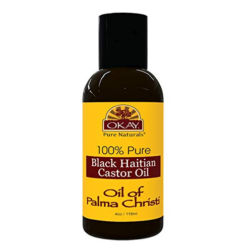 OKAY   100% Pure Black Haitian Castor Oil   For All Hair Textures & Skin Types   Grow Healthy Hair - Treat Skin Conditions   Oil of Palma Christi   All Natural   4 Oz : Castor Massage Oils : Beauty