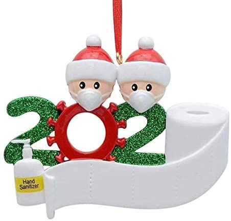 2020 Personalized Christmas Ornament Quarantine,DIY Christmas Decorations with Custom Name Christmas Tree Hanging Home Decorations 2 Persons-7 Persons… (White, Family of 2): Kitchen & Dining