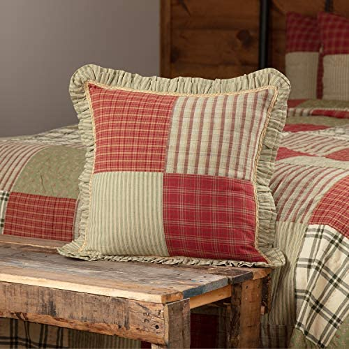"VHC Brands 34626 Classic Country Farmhouse Pillows & Throws-Prairie Winds Red Patchwork 18"" x 18"": Home & Kitchen"
