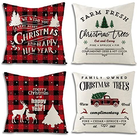 UBING Christmas Pillow Covers 18x18 Set of 4, Red and Black Buffalo Plaid Pillow Cover Christmas Indoor Outdoor Decorative Farmhouse Throw Pillow Covers Rustic Linen Pillow Case for Holiday: Home & Kitchen