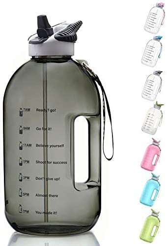 BOTTLED JOY 1 Gallon Water Bottle with Straw Lid, BPA Free Large Water Bottle with Motivational Time Marker Reminder Leak-Proof Drinking Big Water Jug for Sports Workouts and Outdoor Activity : Sports & Outdoors