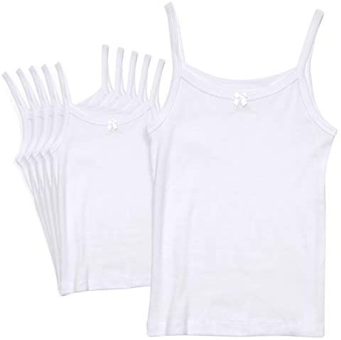 Rene Rofe Girls White Undershirt Camisole Tank Top - Supersoft Tagless Cami (6 Pack): Clothing