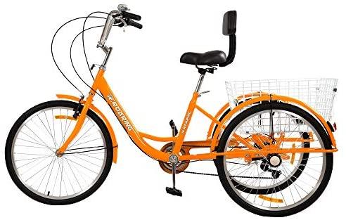 R.ROARING Adult Tricycles Three Wheel Trike Bike Cruiser 7 Speed, 24 inch Wheels, 3 Wheel Bicycles Cruise Trike with Cargo Basket for Seniors, Women, Men (Orange) : Sports & Outdoors