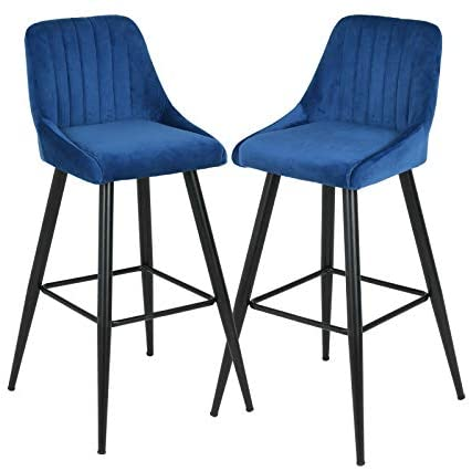 Mecor Velvet Fabric Bar stools Set of 2 with Backrest, 30'' Upholstered Dining Counter Height Bar Chairs for Kitchen Living Room (Blue): Furniture & Decor